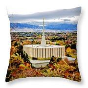 Provo Temple Oak Throw Pillow