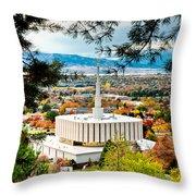 Provo Temple Pine Frame Throw Pillow