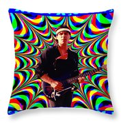 Psychedelia Within A Blue Framework Throw Pillow