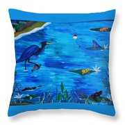 Psychedelic Bayou Throw Pillow