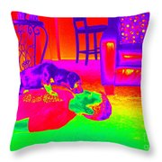 Psychedelic Doggy Love Throw Pillow