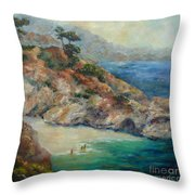 Pt Lobos View Throw Pillow by Carolyn Jarvis