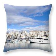 Puerto Banus In Spain Throw Pillow