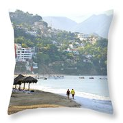 Puerto Vallarta Beach Throw Pillow