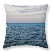Puffy Clouds On Horizon With Caribbean Throw Pillow