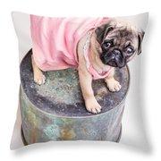 Pug Puppy Pink Sun Dress Throw Pillow