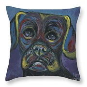 Puggle In Abstract Throw Pillow