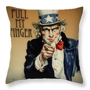 Pull My Finger Poster Throw Pillow