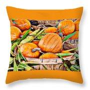 Pumpkin And Corn Combo Throw Pillow