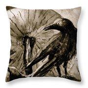 Pumpkin And Crow Throw Pillow