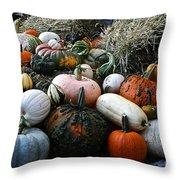 Pumpkin Piles Throw Pillow