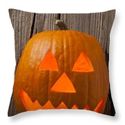 Pumpkin With Wicked Smile Throw Pillow