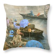 Punts On The Wey At Brooklands Throw Pillow