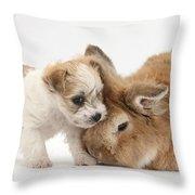 Pup And Rabbit Throw Pillow