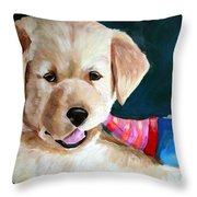 Pup And Toy Throw Pillow