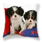 Puppies With Rain Boats Throw Pillow by Jane Burton