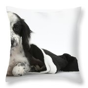 Puppy In Christmas Hat Throw Pillow