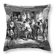 Puritans And Quakers, 1677 Throw Pillow by Granger