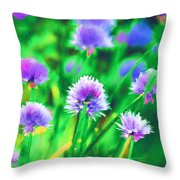 Purple And Green Chive Watercolor Throw Pillow