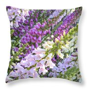 Purple And White Foxglove Square Throw Pillow