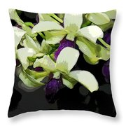 Purple And White Orchid Fx  Throw Pillow