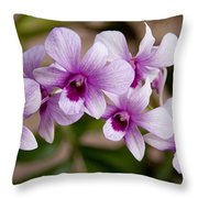 Purple And White Orchids Throw Pillow