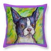 Purple Boston Terrier Throw Pillow