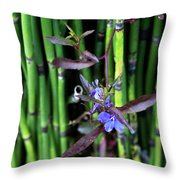 Blue Bursts From Bamboo Throw Pillow
