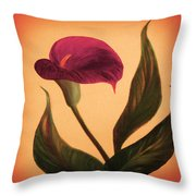 Purple Calla Lily - Square Painting Throw Pillow