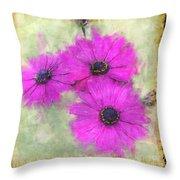 Purple Daisy Trio II Throw Pillow
