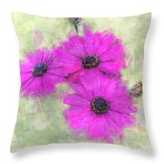 Purple Daisy Trio Watercolor Photoart Throw Pillow