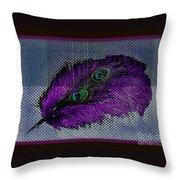 Purple Feather Throw Pillow