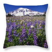 Purple Flowers Blooming Beneath Mount Throw Pillow
