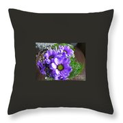 Purple Flowers In The Bubble Throw Pillow
