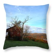 Purple Foot And Autumn Leaves Throw Pillow