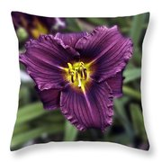 Purple Lilly Throw Pillow