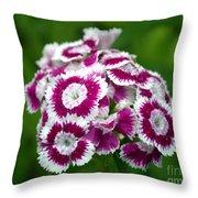 Purple On White Flowers Throw Pillow