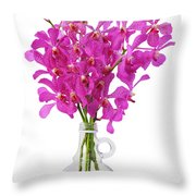 Purple Orchid In Bottle Throw Pillow by Atiketta Sangasaeng