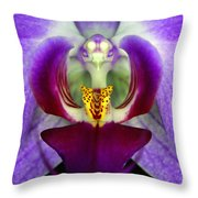 Purple Orchid Macro Throw Pillow