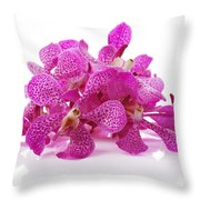 Purple Orchid Pile Throw Pillow by Atiketta Sangasaeng