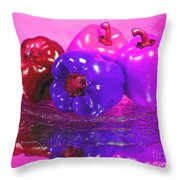 Purple Peppers Throw Pillow