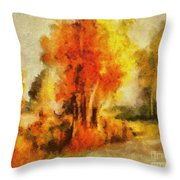 Purple Smoke Tree Throw Pillow