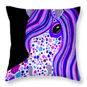 Purple Spotted Horse Throw Pillow