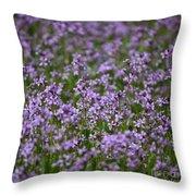 Purple Wildflowers Square Throw Pillow