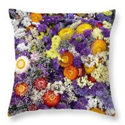 Purple Yellow Orange White Cut Flowers Throw Pillow