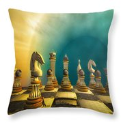 Pushing Back The Knight Throw Pillow