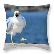 Putting His Foot Down Herring Gull Throw Pillow