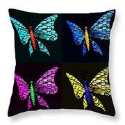Quad Butterflies Throw Pillow