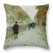Quai Du Louvre Throw Pillow by Childe Hassam