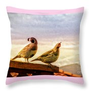 Quail And His Lady Throw Pillow